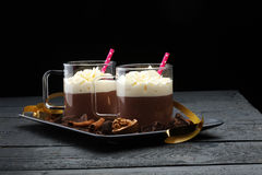 Hot chocolate cocoa with whipped cream Stock Image