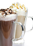 Hot chocolate and coffee beverages. Hot chocolate and coffee latte beverages with whipped cream Royalty Free Stock Photos