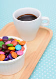 Hot chocolate and colorful candy Royalty Free Stock Photography