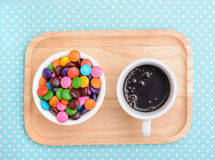 Hot chocolate and colorful candy Royalty Free Stock Photos