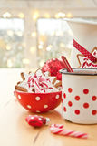 Hot chocolate and colorful decorated christmas cookies Royalty Free Stock Photo