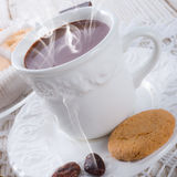Hot chocolate with cookie Stock Images