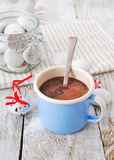 Hot chocolate with cookies. On wooden table Royalty Free Stock Photos