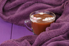 Hot chocolate, cozy knitted blanket. Royalty Free Stock Photo