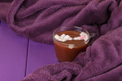 Hot chocolate, cozy knitted blanket. Stock Photos
