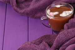 Hot chocolate, cozy knitted blanket. Stock Image