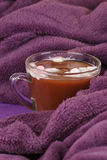 Hot chocolate, cozy knitted blanket. Stock Photography