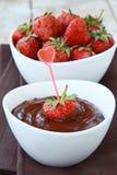 Hot chocolate cream and strawberry Stock Photo