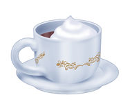 Hot chocolate cup. Computer made illustration: realistic hot chocolate cup with cream isolated on white background Stock Image