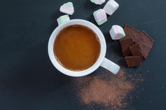 Hot chocolate in a cup, with chocolate on black background, top stock photos