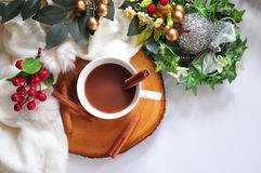 Hot Chocolate Cup on Christmas Decoration Background. With space for text stock photography