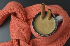 Hot chocolate cup or cocoa drink with cinnamon sticks with orange knitted scarf. Winter background. Hot chocolate cup or cocoa drink with cinnamon sticks with stock photo