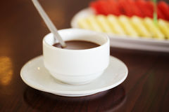 Hot chocolate in cup Royalty Free Stock Image