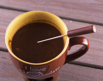 Hot chocolate in a cup Royalty Free Stock Image
