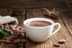 Hot chocolate in the cup royalty free stock photos