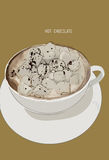Hot chocolate cup with marshmallows, illustration vector Royalty Free Stock Photo