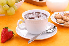 Hot chocolate in the cup with milk, fruit and bisc Royalty Free Stock Image