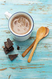 Hot Chocolate. Cup of hot chocolate on old wooden table stock photography