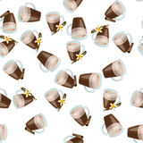 Hot chocolate cup. Very high quality original trendy vector seamless pattern with cinnamon and vanilla hot chocolate cup Stock Photo