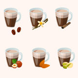 Hot chocolate cup. Very high quality original trendy vector set with vanilla, cinnamon, hazelnut, almons hot chocolate cups stock illustration