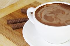 Hot Chocolate Cup and Waffles Royalty Free Stock Photography