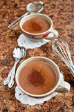 Hot chocolate cups Royalty Free Stock Photography