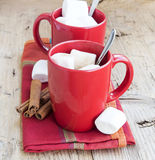 Hot Chocolate Cups with Marshmallows Royalty Free Stock Photography