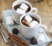Hot Chocolate Cups with Marshmallows Stock Photography