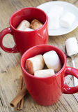 Hot Chocolate Cups with Marshmallows Royalty Free Stock Photos