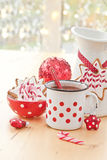 Hot chocolate and decorated christmas cookies Stock Image