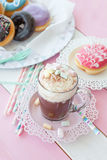 Hot chocolate and donuts Royalty Free Stock Images