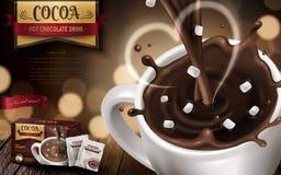 Hot chocolate drink ad vector illustration
