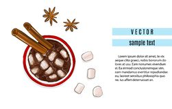 Hot chocolate drink with cinnamon and anise flavour. Winter holidays advertising. Christmas coffee with marshmallow. Print royalty free illustration