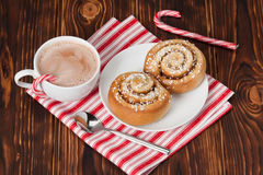Hot Chocolate Drink. Cinnamon Swirls. Christmas Royalty Free Stock Images