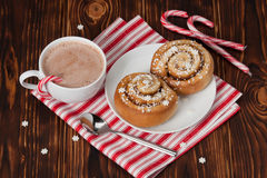 Hot Chocolate Drink. Cinnamon Swirls. Christmas Stock Photography