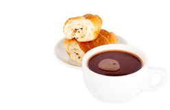 Hot chocolate drink and croissant Royalty Free Stock Photo