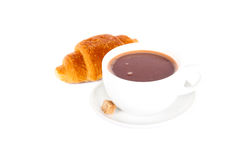 Hot chocolate drink and croissant Stock Image