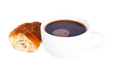 Hot chocolate drink and croissant Stock Photography