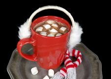 Hot chocolate drink with ear muffs Royalty Free Stock Images