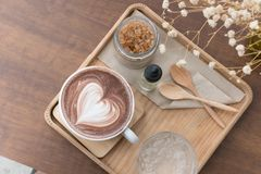 Hot chocolate drink with heart latte art. delicious  cocoa bever Royalty Free Stock Photography