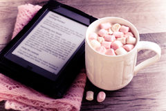 Hot chocolate drink with marshmallow Stock Photos