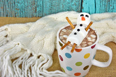 Hot chocolate drink with marshmallow snowman Stock Images