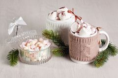 Hot chocolate. Drink with marshmallows for cold weather. Christmas and new year celebration concept with copy space stock photos