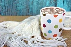Hot chocolate drink in polka dot mug Stock Photo
