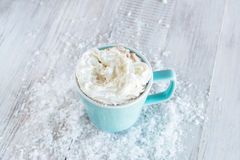 Hot Chocolate Drink With Whipped Cream and Snow Stock Images