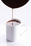Hot chocolate drink in white mug Stock Photos