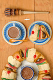 Hot Chocolate with Epiphany cake, Kings cake, Rosca de reyes or Roscon de reyes. Epiphany cake, Kings cake, Roscon de reyes or Rosca de reyes with Hot Chocolate Royalty Free Stock Photos