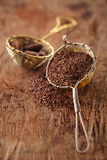 Hot chocolate flakes with chilli flavor in old rustic style silv Stock Images