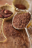 Hot chocolate flakes with chilli flavor in old rustic style silv Royalty Free Stock Photography