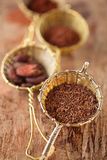 Hot chocolate flakes with chilli flavor in old rustic style silv Stock Image